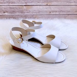 Cole Haan White Leather Evette Grand Wedge Sandals